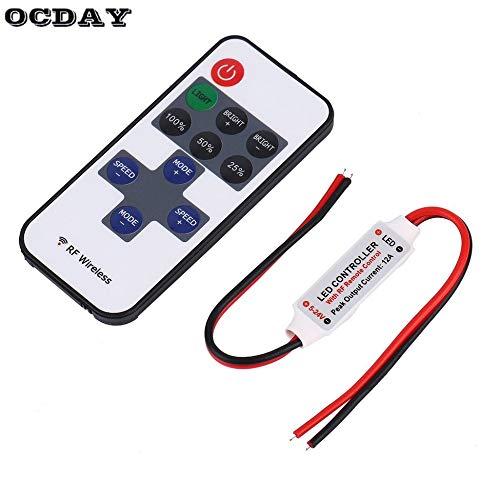 12V RF LED Streifen Licht Mini Wireless Switch Controller Dimmer mit Fernbedienung Mini Inline LED Licht Controller/Dimmer (Licht-dimmer Mit Fernbedienung)