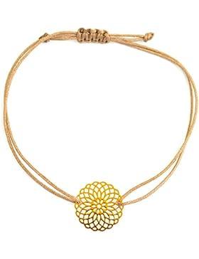 Armband Roségold, Boho Style Armband, Makramee Armband - Mandala Blume Glücksarmband