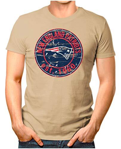 OM3® - New-England-Badge - T-Shirt | Herren | American Football Shirt | L, Khaki