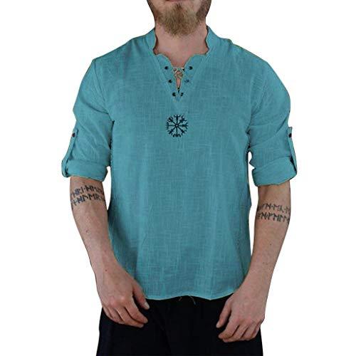 BHYDRY Herren Sommer Modische Persönlichkeit Baumwolle-Leinen Pure Long Sleeve Top(XXXXXX-Large,Grün) -