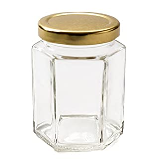 Nutley's 8oz Hexagonal Jam Jar with Screw-Top Lid - Gold (Pack of 6)