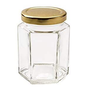 6 strong 8oz hexagonal jam jars - ideal for all home made jams, preserves, pickles and chutneys.