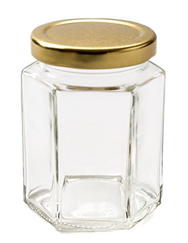 Nutley's Lot de 36 petits bocaux à confiture hexagonaux avec couvercle à visser doré 237 ml