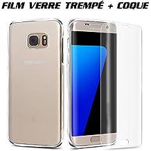 Film Protection Samsung Galaxy S7 Edge - Coque Samsung Galaxy S7 Edge Protection Ecran Verre Trempé 3D Incurvé Anti-rayure Housse Etui ultra résistant Anti- shock Ajustement Parfait (Transparent) EASHION