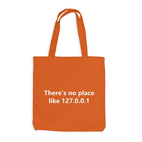 Jutebeutel - There's no place like 127.0.0.1 - Nerd Fun Informatik Orange