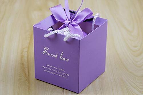 Hrain scatole di cioccolatini multicolor da sposa scatolette di caramelle per gli ospiti della festa nuziale bomboniere e articoli da regalo borsa tote di decorazione, viola 2,80x80x80mm, 50pz