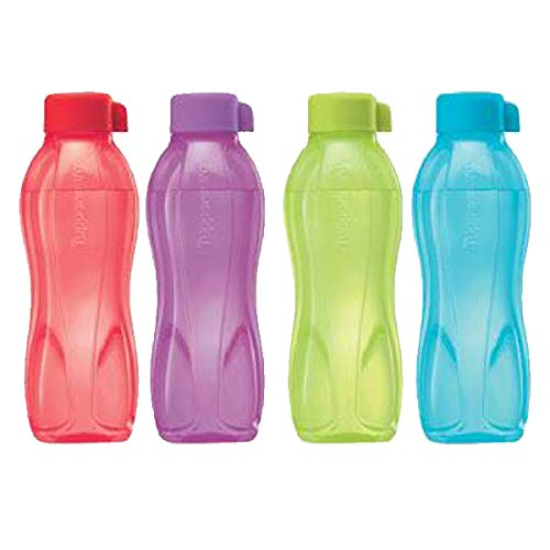 Tupperware Aquasafe Plastic Water Bottle Set, 500ml, Set of 4, Multicolor