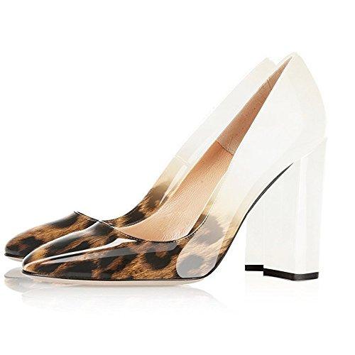 EKS Damen Elegante spitze Zehen-Pumps, Chunky Heels Patent Schuhe High Heels Blockabsatz EU 35-46 White-Leopard