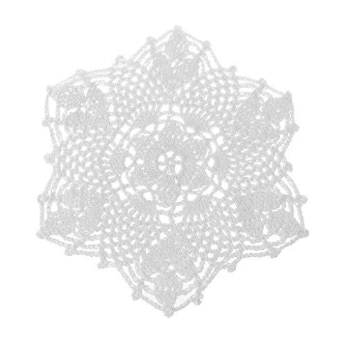 atte Hand gehäkelt Spitze Deckchen Blume Form Untersetzer Tasse Becher Pads weiß, 20cm (7.87in) ()