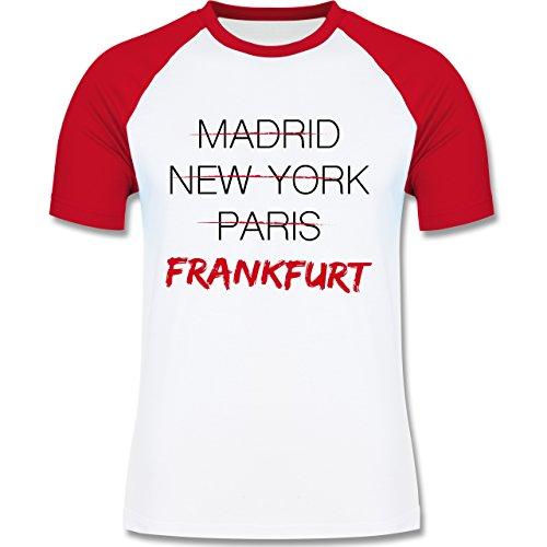 Städte - Weltstadt Frankfurt - zweifarbiges Baseballshirt für Männer Weiß /Rot