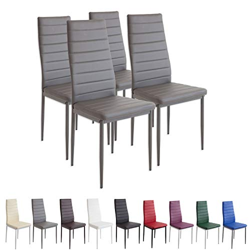 Albatros Milano - Set de 4 sillas de Comedor, Estructura metálica y Piel sintética, Estilo Italiano, Gris (2553), piél