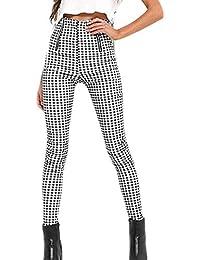 Vepodrau Femmes 1940 s Vintage Zip Up Taille Haute Vichy Checker Mince  Pantalon f197a8bc5e2a