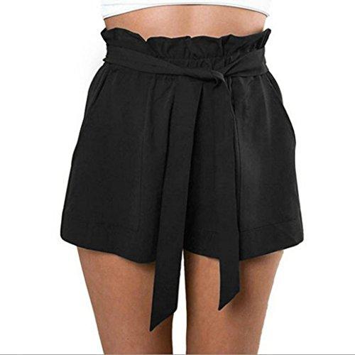 Btruely-Shorts Damen Sommer Kurze Hosen Damen Lässige Design Hohe Taille Lose Modische Shorts Frau mit Gürtel (Asia Größe XL, Schwarz)