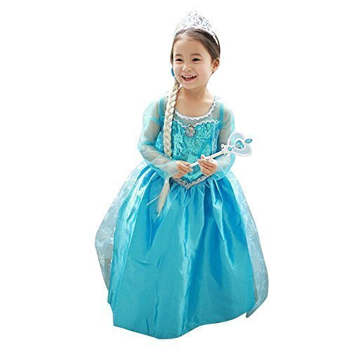 Loel Princess Inspired Girls Snow Queen Party Costume Dress ()