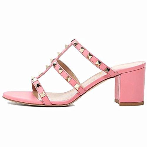 Caitlin Pan Chunky Heels für Damen Studded Slipper Low Blockabsatz Sandalen Open Toe Slide Studs Kleid Sandalen (Chunky Ankle Wrap Heel)