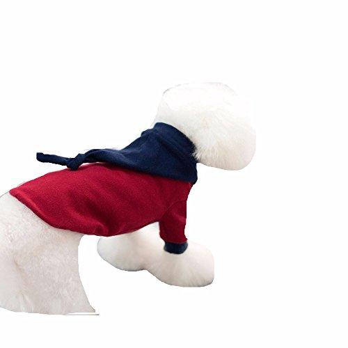 Neue pet-bequeme Kleidung aus Baumwolle mit Kapuze Pyjama Teddy Welpen im Herbst und Winter, Rotwein, S