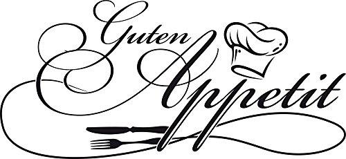 Preisvergleich Produktbild Wandtattoo Wandaufkleber Tattoo Spruch für Küche Guten Appetit Kochmütze (109x50cm // 070 schwarz)