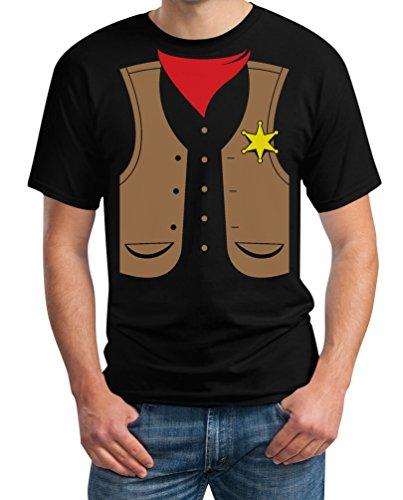 Sheriff Cowboy Karnevalskostüm Fasching Kostüm Verkleidung JGA T-Shirt XXXX-Large Schwarz