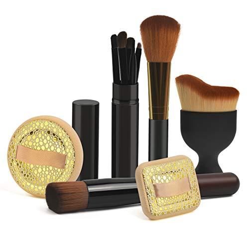 Make up Pinsel sets, 24HOCL Premium Kosmetik mit Synthetisches Haar Pinselset kosmetik Kabuki Foundation Blush Eyeshadow Eyeliner Kompaktpuder Abdeckcremes Die Schönheit Tools (10 Stück) (Make-up Pinsel Haare)