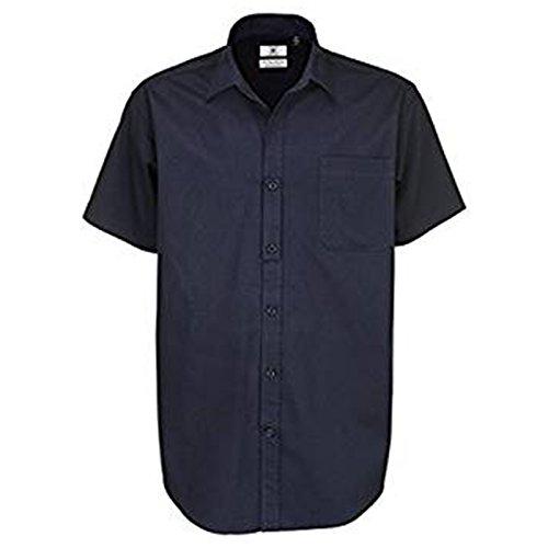 B&C Collection Herren Modern Business-Hemd Gr. L, navy (Plaid L/s Oxford Mens Hemd)