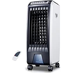 SL&LFJ 4 Fan de roulettes Roues climatisation,Ventilateur télécommande climatisation Petit Mobile Home Silencieux Cooler humidification Vertical Refroidisseur d'air de Refroidissement-Noir