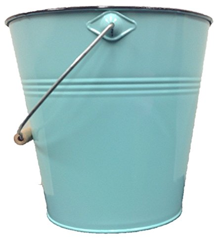 10-litre-metal-bucket-wooden-handle-in-choice-of-colour-blue-green-yellow-pink-green