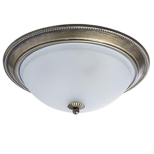 MW-Light 450015503 Runde Deckenlampe 3 Flammig Klassisch Messing Weiß Glasschirm