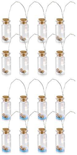 com-four® 2 Maritime LED Lichter-Ketten mit Deko-Fläschchen aus Glas und Korkverschluss im maritimen Design (2 Stück - Maritim)