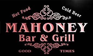 u27868-r MAHONEY Family Name Bar & Grill Home Beer Food Neon Sign
