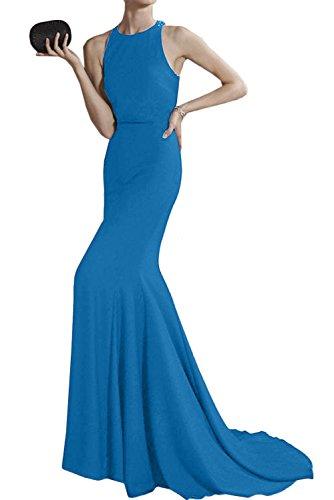 Sunvary Damen Rund Chiffon Lang Traeger Meerjungfrau Abendkleider Ballkleider Partykleider Schleppe Blau