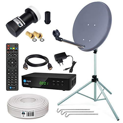 HB-DIGITAL Sat-Komplett-Set: Mini Sat Anlage 40cm Schüssel Anthrazit + UHD Single LNB 0,1 dB + 10m Kabel + HD 250S Receiver ( für HDTV geeignet ) + Stahl Stativ