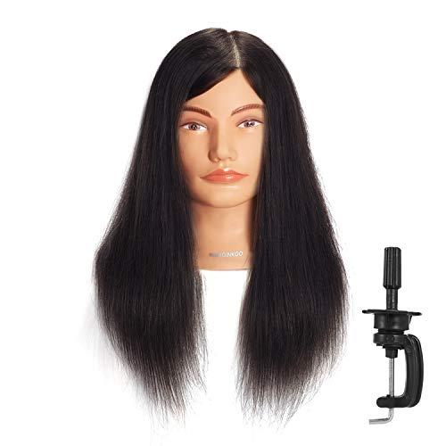 Cabeza de maniquí Hairginkgo de 51-56 cm cabeza de maniquí 100{6b66fd827e26dba74836f7d0673378b344c93a5d7ac127b1bb540d2434932af8} cabello humano, cabeza de maniquí para entrenamiento, cosmetología cabeza de muñeca para estilismo y teñido (92019D0214)
