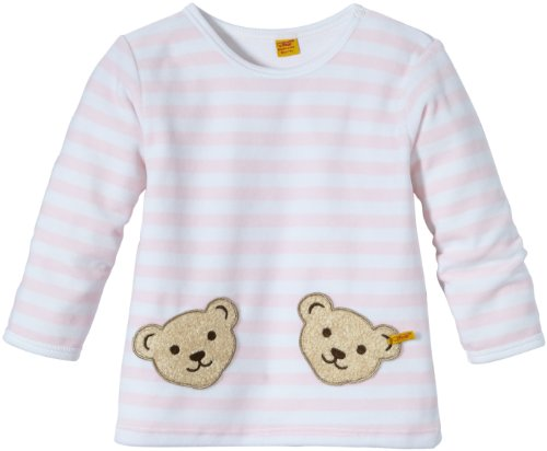 Steiff Unisex - Baby Sweatshirt 0002891 1/1 Arm, Gestreift, Gr. 80, rosa (Barely Pink)