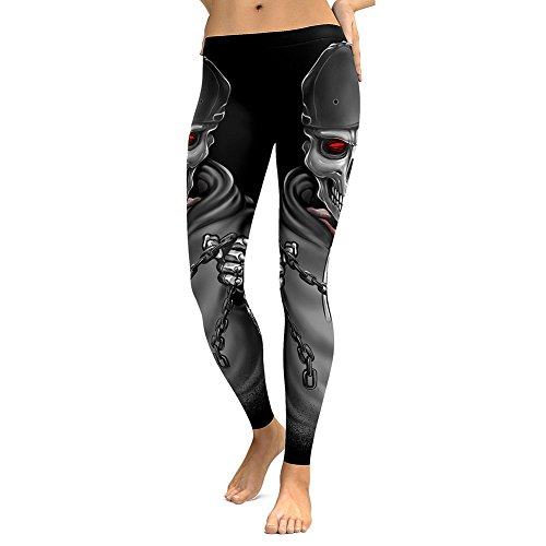 Juleya Skinny Hose Damen Stretch Halloween Skelett Bedruckte Leggings Geist Gotisch Knochen Elastische Mittlere Muster Print Taille Fitness Leggins Lang Jogginghose Freizeithose S - 5XL