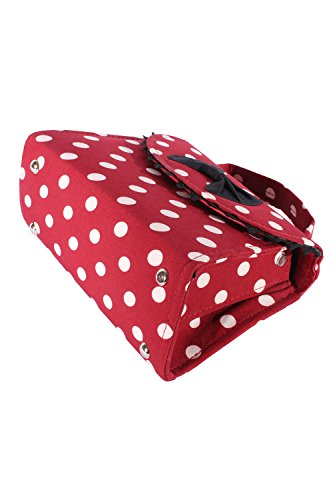 SugarShock Damen Fifties POLKA DOTS rockabilly BOW Tasche Köfferchen Handtasche weinrot -