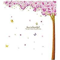 Grande Rosa Sakura Fiore Cherry Blossom albero Wall Sticker decalcomanie PVC rimovibile adesivo da parete per cameretta ragazzi e ragazze bambini camera da letto