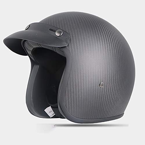 Z·Bling-Helmet Casco omologato per Scooter Moto Jet Nero Opaco Senza Visiera con Calotta Esterna in Fibra, visierino Parasole Rimovibile, Interni anallergici e Traspiranti (M)