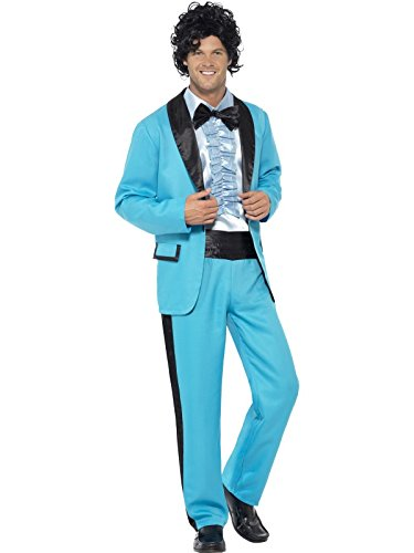 Men'S Blue 80'S Prom Date King Fancy Dress Costume