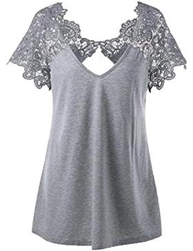 Oyeden Taglia Grossa T-Shirt Da Donna Casual Con Abbigliamento Donna Estate Maglietta Top Cerniera Moda Camicetta...