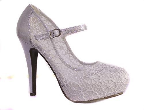 Shoe Box Boutique, Con Cinturino alla Caviglia Donna, Bianco (White), 36.5
