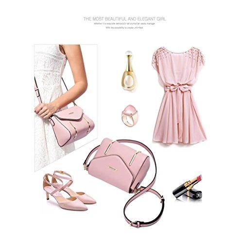 Da donna nuovo moda coreano Tote PU borsa a tracolla nero rosso rosa viola beige, red beige