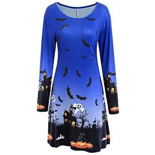 OdeJoy Damen Halloween Gedruckt Langeärmel Kleid Abend Abschlussball Kostüm Swing Kleid Schlank...