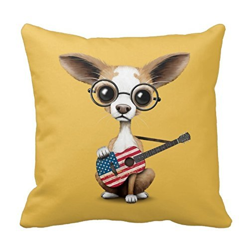 Chihuahua Puppy Dog Playing American Flag Guitar Throw Pillows Custom Throw Pillow Case Personalized Cushion Cover Pillowcase Square Pillow Cover 18x18