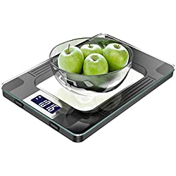 MOMMED Balance de Cuisine, Balance de Cuisine Numérique d'une Capacité Maximale de 15 kg, écran LCD, très haute Sensibilité de Mesure de 1 gramme, Fonction de Tare