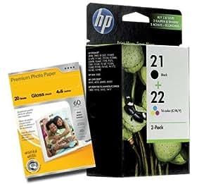 2 x cartouche d 39 encre pour imprimante hp 21 et 22 noir. Black Bedroom Furniture Sets. Home Design Ideas