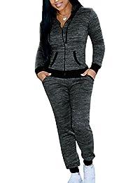 Mujer 2 Piezas Chándal - Manga Larga Cremallera Sudadera con Capucha y Pantalones con Bolsillos Moda Casual Conjuntos Deportivos