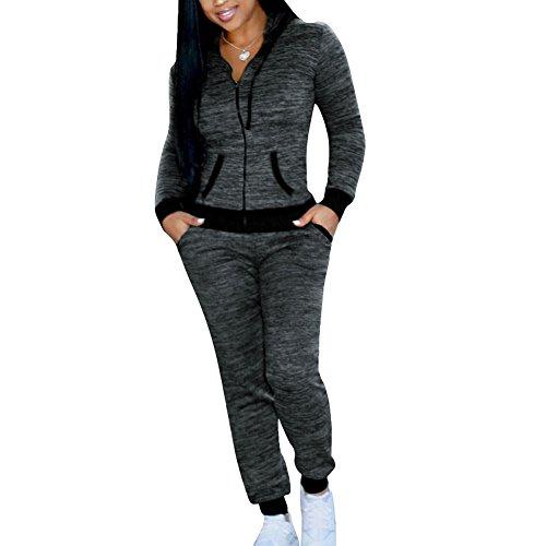 Damen Trainingsanzug Mode Einfarbig Langarm Reißverschluss Kapuzenpullover und Lange Hose Fitness Jogginganzug Casual Sportanzug Hausanzug 2 Piece Set