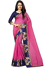 New Designer Saree Shop Women's Pink Colour Chanderi Cotton Saree With Unstitched Blouse Piece