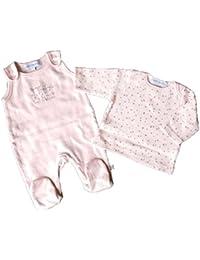 Pelele y tee shirt bebe - Puro algodon - rosa palo - de Prematuro a 6