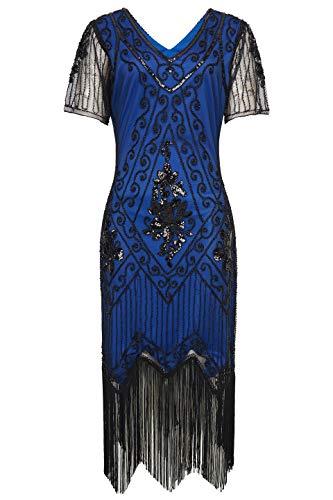 ArtiDeco 1920s Kleid Damen Flapper Kleid mit Kurzem Ärmel Gatsby Motto Party Damen Kostüm Kleid (Blau Schwarz, L (Fits 84-90 cm - 1920 Motto Kostüm